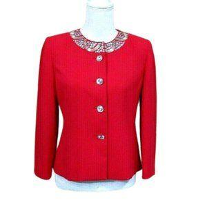 Kasper Rhinestone Embellished Blazer Jacket Size 4